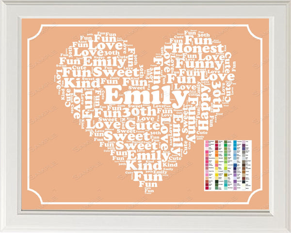 30th Birthday Word Art Birthday Print 30th Birthday Gift