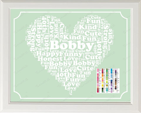 40th Birthday Word Art Birthday Print - 40th Birthday Gift Personalized 8 x 10 Forty Year Old Birthday Print for Birthday Gift Ideas