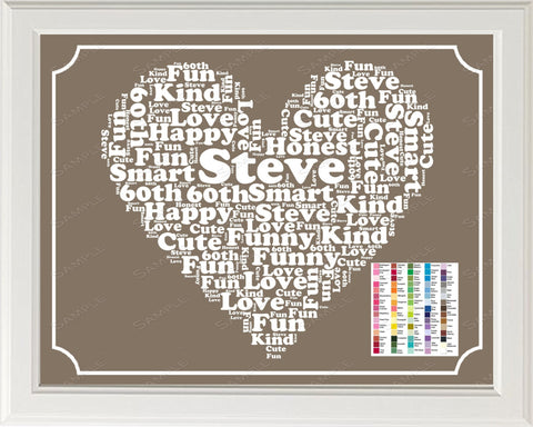 Personalized 60th Birthday Gifts 60th Birthday Gift Word Art 8 x 10 Print Sixty Birthday Gift Ideas