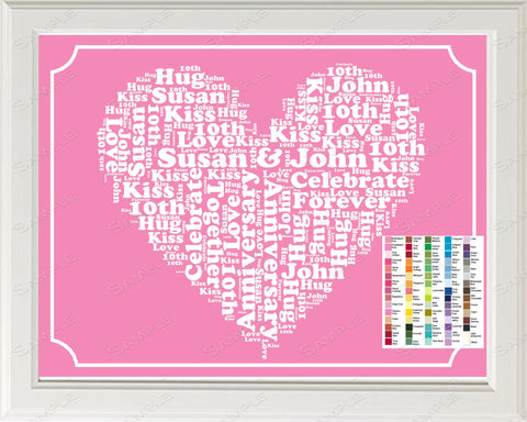 10th Anniversary Gift Word Art Print 8 x 10 Digital Download .JPG