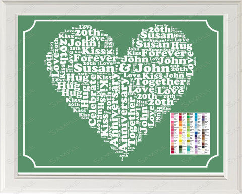 20th Anniversary Gift Word Art Print - 20th Anniversary Gift Personalized 8 x 10 20 Anniversary Gift Ideas -DesignbyWord.Com