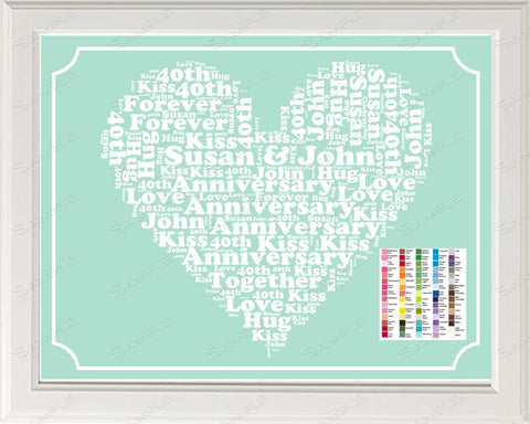 40th Anniversary Gift Word Art Print - 40th Anniversary Gift Personalized 8 x 10 Forty Anniversary Gift Ideas -DesignbyWord.Com