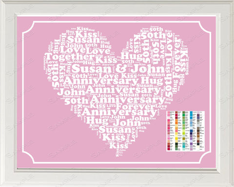 50th Anniversary Gift Word Art Print - 50th Anniversary Gift Personalized 8 x 10 Fifty Anniversary Gift Ideas