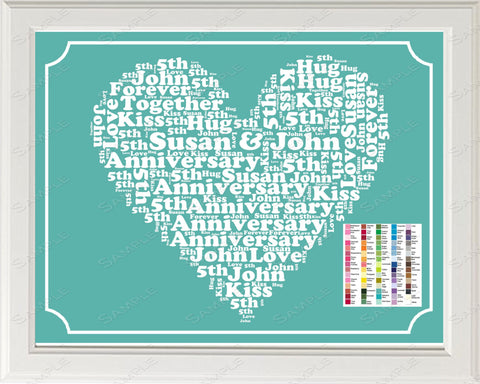 5th Anniversary Gift Word Art Print - 5th Anniversary Gift Personalized 8 x 10 Fifth Anniversary Gift Ideas