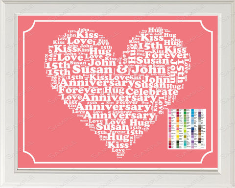 15th Anniversary Gift Word Art Print - 15th Anniversary Gift Personalized 8 x 10 Fifteenth Anniversary Gift Ideas -DesignbyWord.Com
