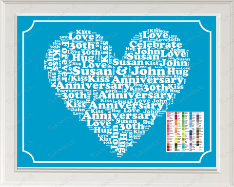 30th Anniversary, 30th Anniversary Gifts, Personalized, Gifts, Gift for Her 8 x 10 Anniversary Print