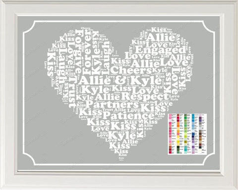 PERSONALIZED Engagement Gift Word Art - Engagement Gift - Engagement Gift Ideas 8 x 10 Print Digital Download .JPG