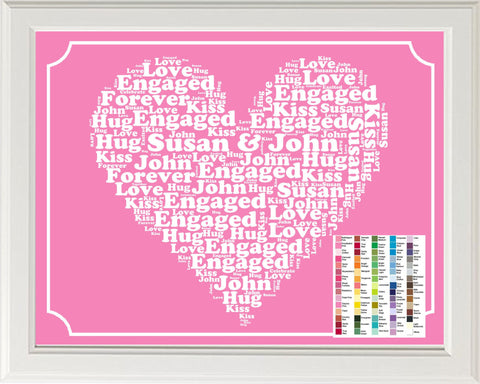 Engagement Gift Personalized Word Art Print - Engagement Gift 8 x 10 Engagement Gift Ideas - Just Engaged Gifts