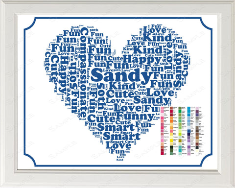 50th Birthday Word Art Birthday Print - 50th Birthday Gift Personalized 8 x 10 50 Year Old Birthday Gift Ideas Digital Download .JPG -DesignbyWord.Com