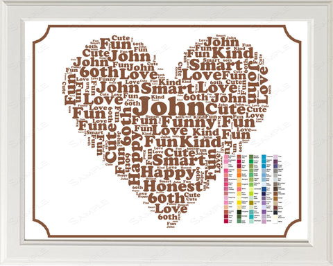 60th Birthday Wordart Birthday Gift 60th Birthday Gift 8 x 10 60 Year Old Birthday Gift Ideas Digital Download .JPG -DesignbyWord.Com