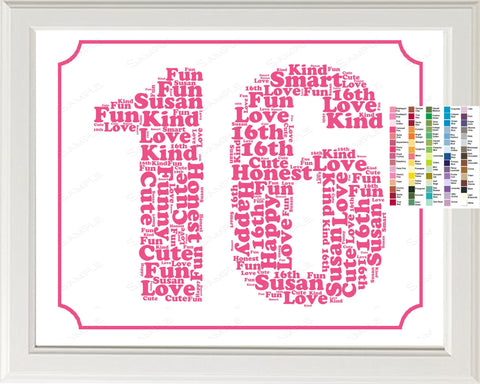 Personalized 16th Birthday Word Art Birthday Print 16th Birthday Gift - 8 x 10 Sixteen Year Old Birthday Print for Birthday Gift Ideas