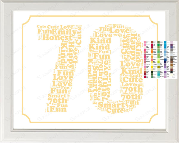 70 Year Wedding Anniversary Gifts: Personalized 70th Birthday Word Art Birthday Print