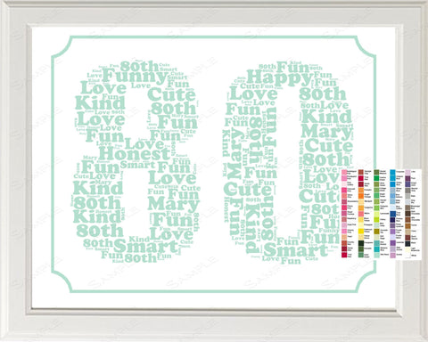 Personalized 80th Birthday Word Art Birthday Print - 80th Birthday Gift 8 x 10 Eighty Birthday Gift Ideas