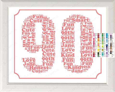 Personalized 90th Birthday Word Art Print