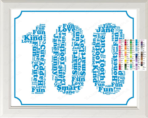 100th Birthday Word Art Birthday Print - 100th Birthday Gift Personalized 8 x 10 100 Year Old Birthday Print for Birthday Gift Ideas