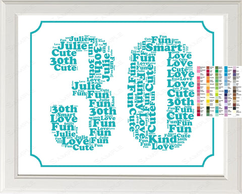 Personalized 30th Birthday Word Art Birthday Print - 30th Birthday Gift 8 x 10 Thirty Year Old Birthday Print for Birthday Gift Ideas