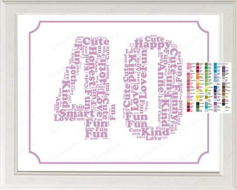 Personalized 40th Birthday Word Art Print