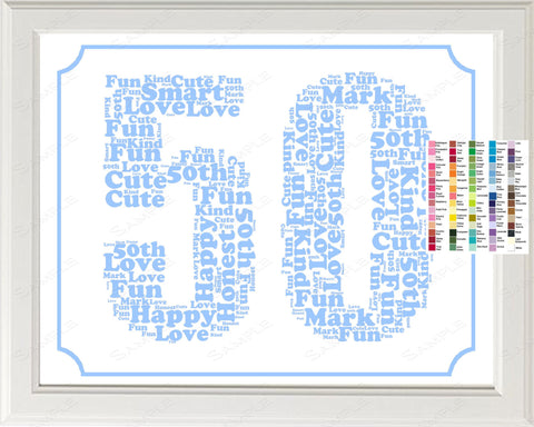50th Birthday Word Art Birthday Print - 50th Birthday Gift 8 x 10 Fifty Year Old Birthday Print for Birthday Gift Ideas
