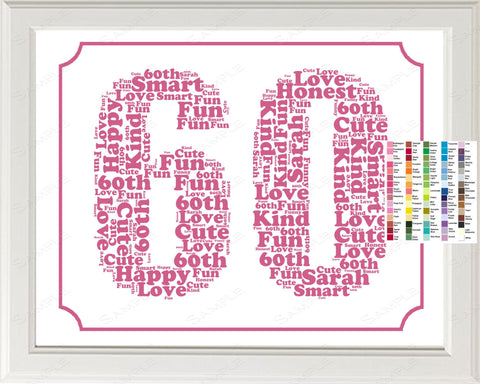 Personalized 60th Birthday Word Art Sixty Gift 60 Ye