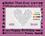 Personalized 60th Birthday Gift 60th Birthday Love Poem Sixty Birthday Heart Print 8 X 10 60 Birthday Gift Ideas
