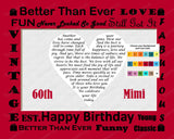 60th Birthday Gift 60th Birthday Love Poem Sixty Birthday Heart Personalized Print 8 X 10 Birthday Gift Ideas -DesignbyWord.Com