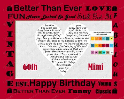 Personalized 60th Birthday Gift 60th Birthday Love Poem Sixty Birthday