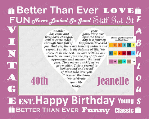 40th Birthday Gift Love Poem. 40th Birthday Gift Heart - Forty Birthday Gift Print 8 X 10