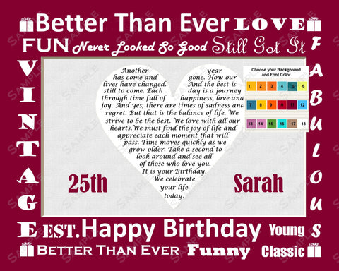 25th Birthday Gift. 8 X 10 Print with Poem - Twenty Five Year Old Birthday Gift Ideas