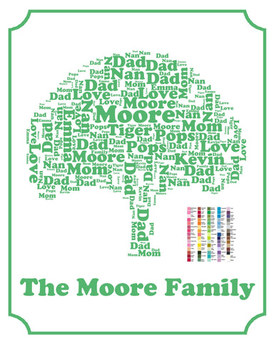 personalized family tree 8 x 10 print family tree word art family tr