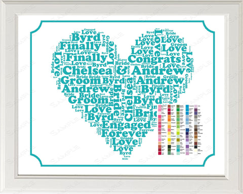 Just Engaged Engagement Gift Word Art - Engagement Gift - Just Engagement Gift Ideas - Engagement Gifts 8 x 10 Print