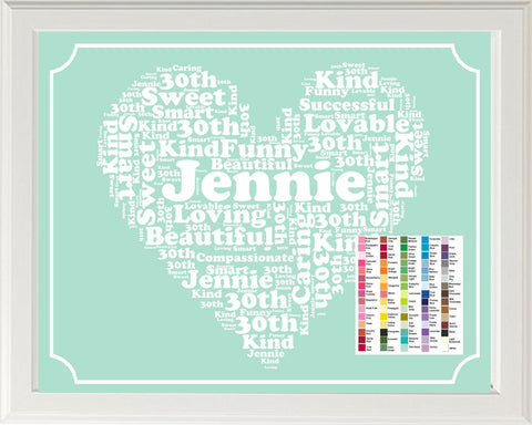 30th Birthday Gift Wordart Birthday Print. 30th Birthday Gift 8 x 10 Print. Thirty Birthday Birthday Ideas