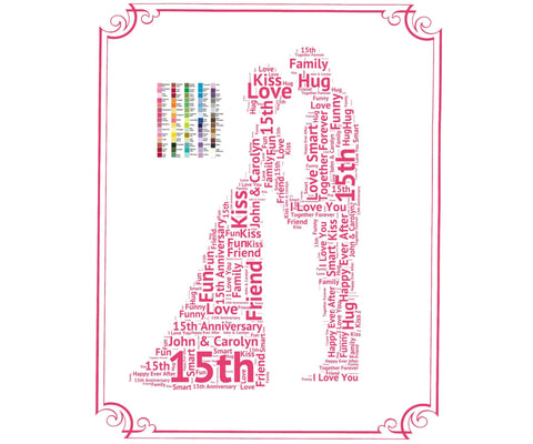 Personalized 15th Anniversary Gift - 15th Anniversary Gift Ideas - 15 Year Anniversary Word Art 8 x 10 Print