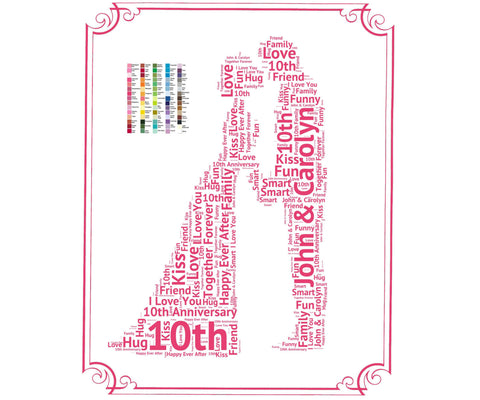 10th Anniversary Gift - 10th Anniversary Gift Ideas - Tenth Anniversary Word Art 8 x 10 Print