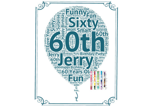 Personalized 60th Birthday Party Decoration Balloon Poster 60th Birthday Word Art - 20 x 24 Poster Sixty Birthday Digital Download .JPG