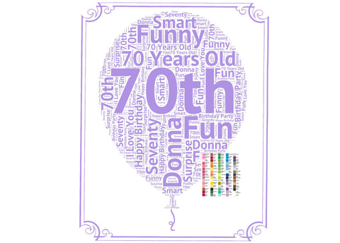 Personalized 70th Birthday Party Decoration Balloon Poster Word Art