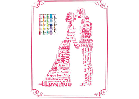40th Anniversary Gift - 40th Anniversary Gift Ideas - Forty Year Anniversary Word Art 8 x 10 Print