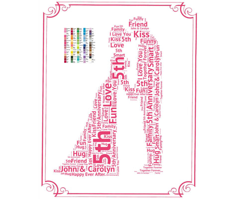 5th Anniversary Gift - 5th Anniversary Gift Ideas - Fifth Anniversary Word Art 8 x 10 Print
