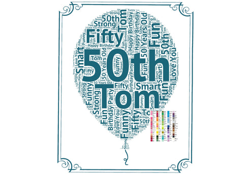 Personalized 50th Birthday Party Decoration Balloon Poster 50th Birthday Word Art - 20 x 24 Poster Fifty Birthday Digital Download .JPG