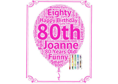 Personalized 80th Birthday Gift Balloon 80th Birthday Idea for 80th Birthday Word Art - 8 x 10 Print Eighty Birthday Gift Idea