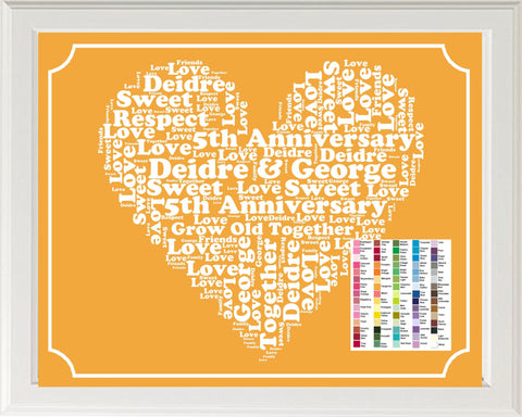 Personalized 5th Anniversary Gift Word Art Print - 5th Anniversary Gift 8 x 10 Fifth Anniversary Gift Ideas