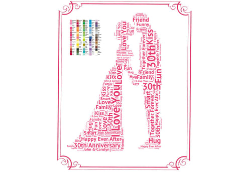 30th Anniversary Gift - 30th Anniversary Gift Ideas - Thirty Year Anniversary Word Art 8 x 10 Print