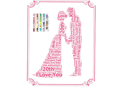 Personalized 20th Anniversary Gift - 20th Anniversary Gift Ideas - Twenty Anniversary Word Art 8 x 10 Print