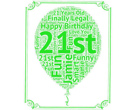 Personalized 21st Birthday Gift Balloon 21st Birthday Idea for 21st Birthday Word Art - 8 x 10 Print Twenty One Years Old Birthday Gift Idea