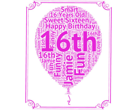 16th Birthday Gift Balloon 8 x 10 Print. 16 Birthday Gift Idea