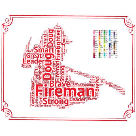 PERSONALIZED Fireman Gift - Fireman Gift Word Art - Firemen Gift Ideas - Fire Fighter Gifts 8 x 10 Print