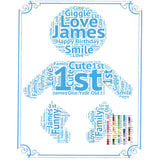 Personalized 1st Birthday Gift 1st Birthday Idea for Baby Birthday Word Art - 8 x 10 Print First Birthday Gift Idea