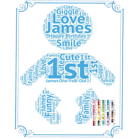 1st Birthday Gift 1st Birthday Idea for Baby Birthday Word Art - 8 x 10 Print First Birthday Gift Idea