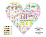 PERSONALIZED 40th Birthday Gift Forty Heart Wordart 8 X 10 Print Unique 40th Birthday Gifts