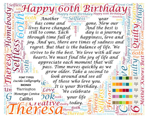 Personalized 60th Birthday Gift Poem 60th Birthday Word Cloud Art 8 X 10 Print Sixty Birthday Gifts