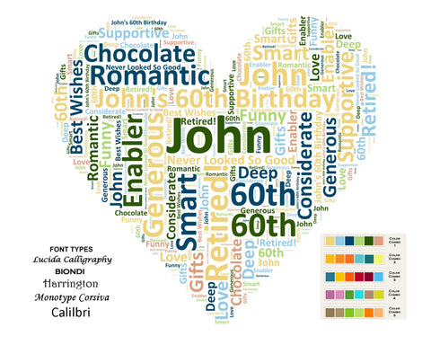 CUSTOM 60th Birthday Love Gift Heart 60th Birthday Word Cloud Art 8 X 10 Unique 60th Birthday Gifts Digital JPG
